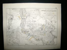 Battles of Lonato & Castiglione, Italy: 1848 Antique Battle Plan. Johnston
